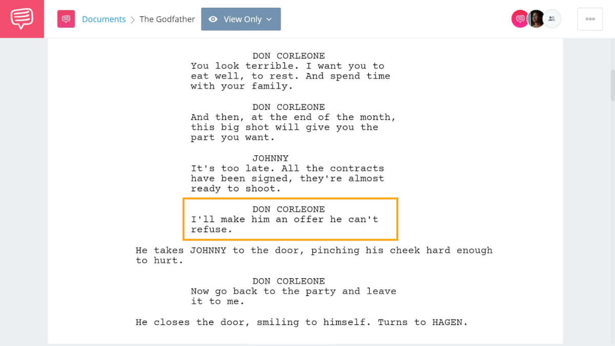 Godfather Script Teardown - Michaels An Offer He Can't Refuse - StudioBinder Screenwriting Software