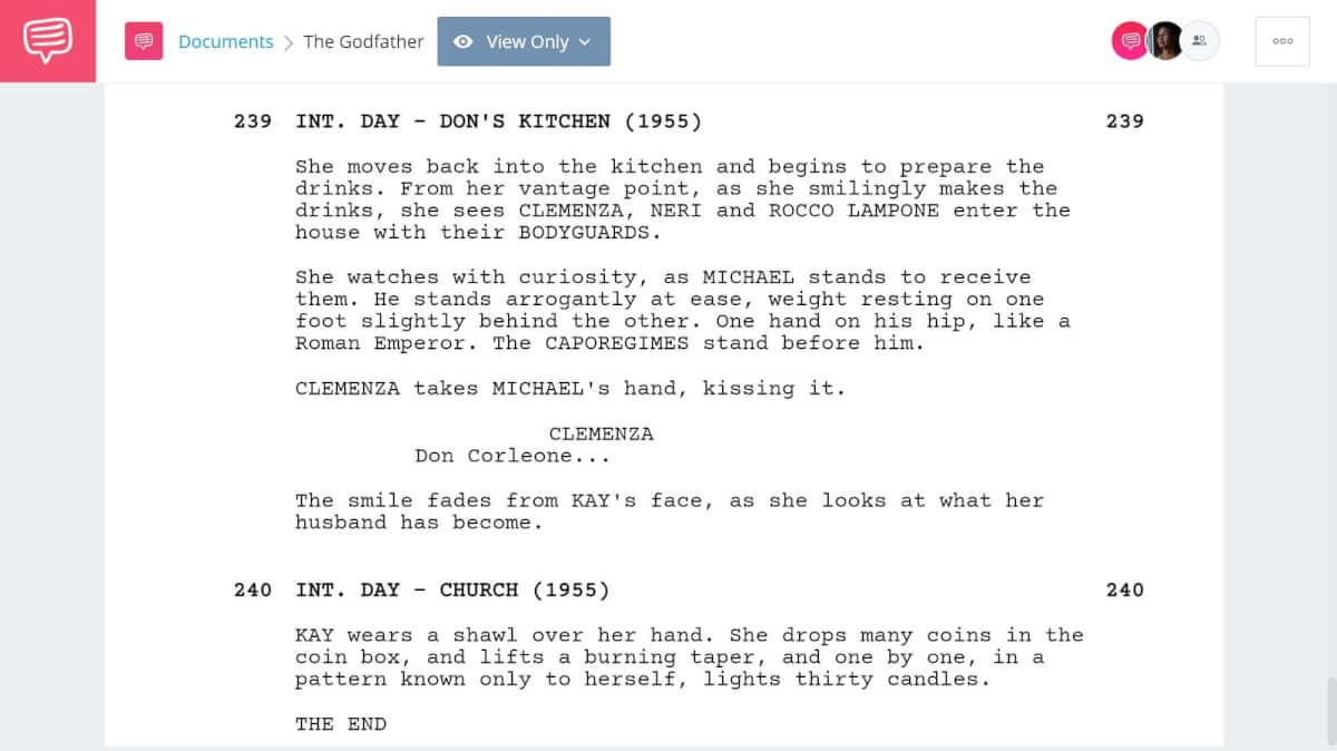Godfather Script Teardown - Michaels Ascent Scene - StudioBinder Screenwriting Software