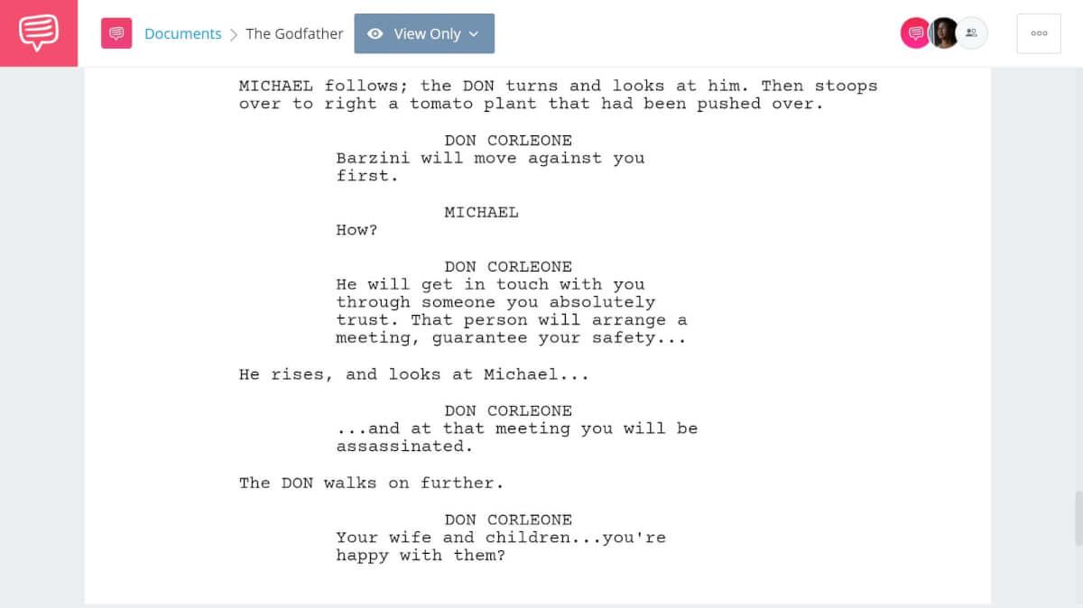 Godfather Script Teardown - Plot Building - StudioBinder Screenwriting Software