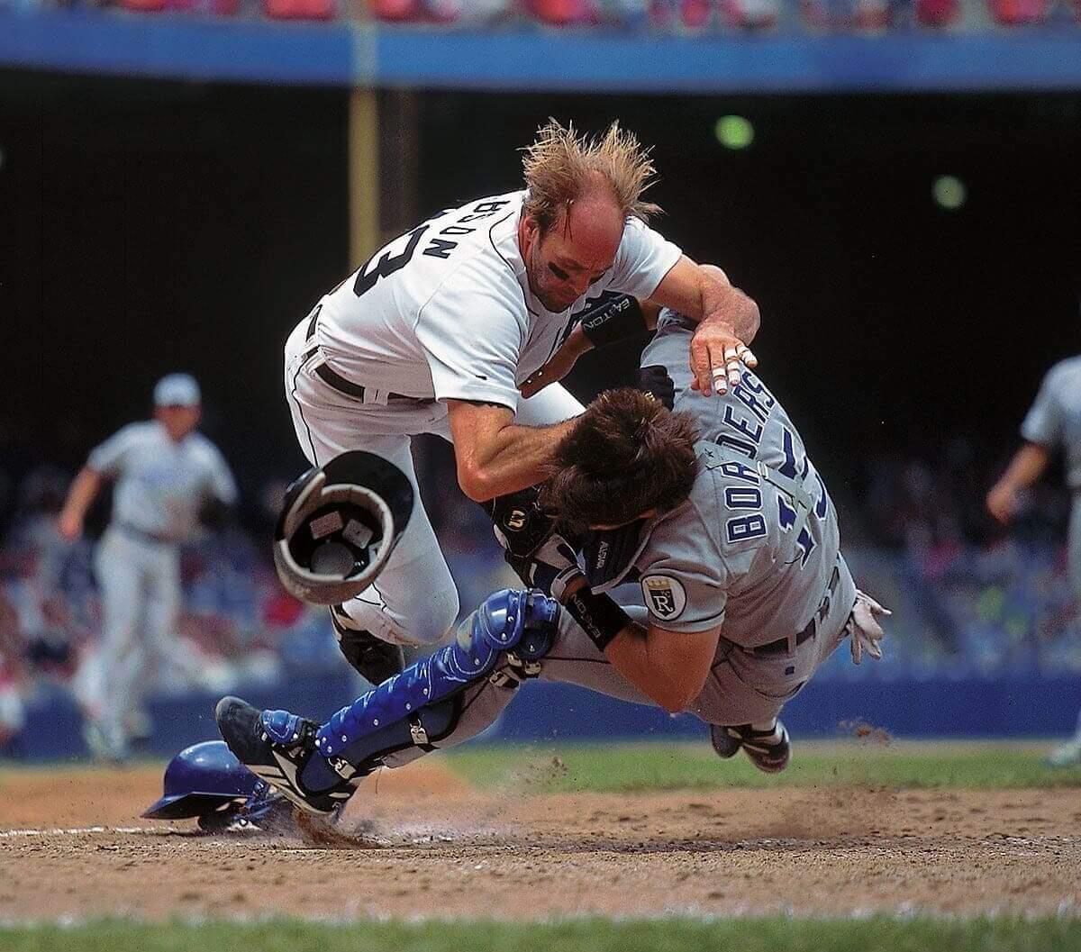 Great Sports Images - Kirk Gibson Barrels Into Catcher Pat Borders - Chuck Solomon