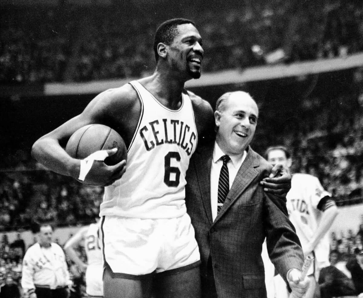 Sports Photography Examples - Bill Russell and Red Auerbach Share a Happy Moment - AP