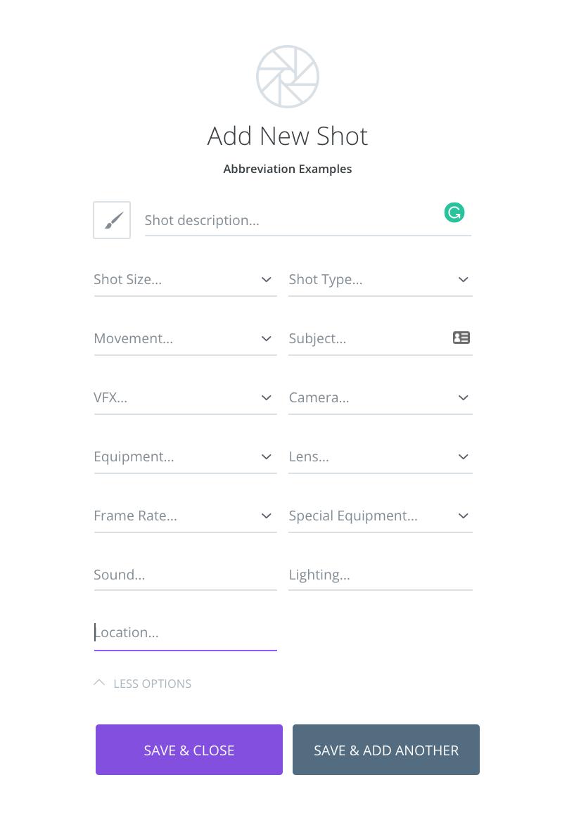 StudioBinder Shotlisting App — Photoshoot shot list