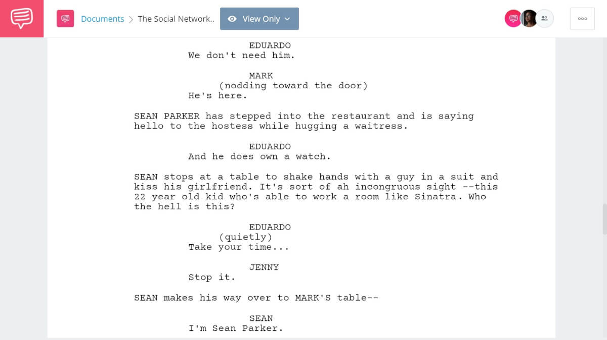 The Social Network Script Breakdown - Character Building - StudioBinder Screenwriting Software