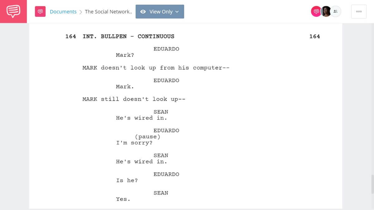 The Social Network Script Breakdown - Confrontation Scene - StudioBinder Screenwriting Software