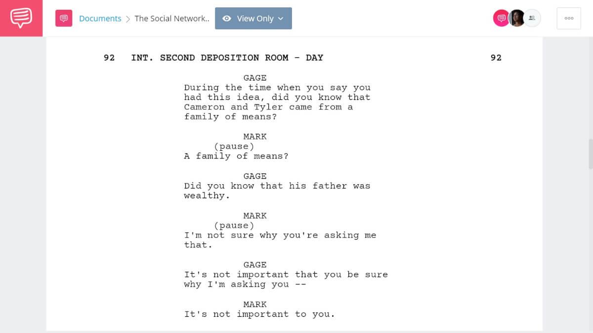 The Social Network Script Breakdown - Deposition Scenes - StudioBinder Screenwriting Software