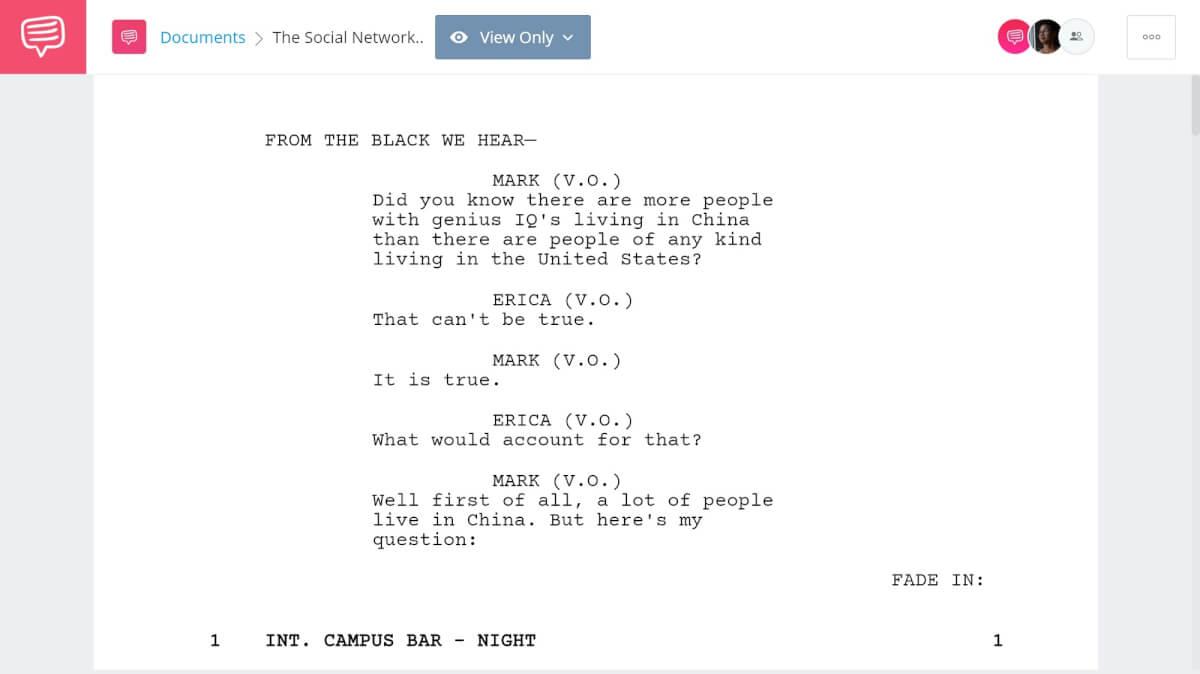 The Social Network Script Breakdown - Full Script PDF Download - StudioBinder Screenwriting Software