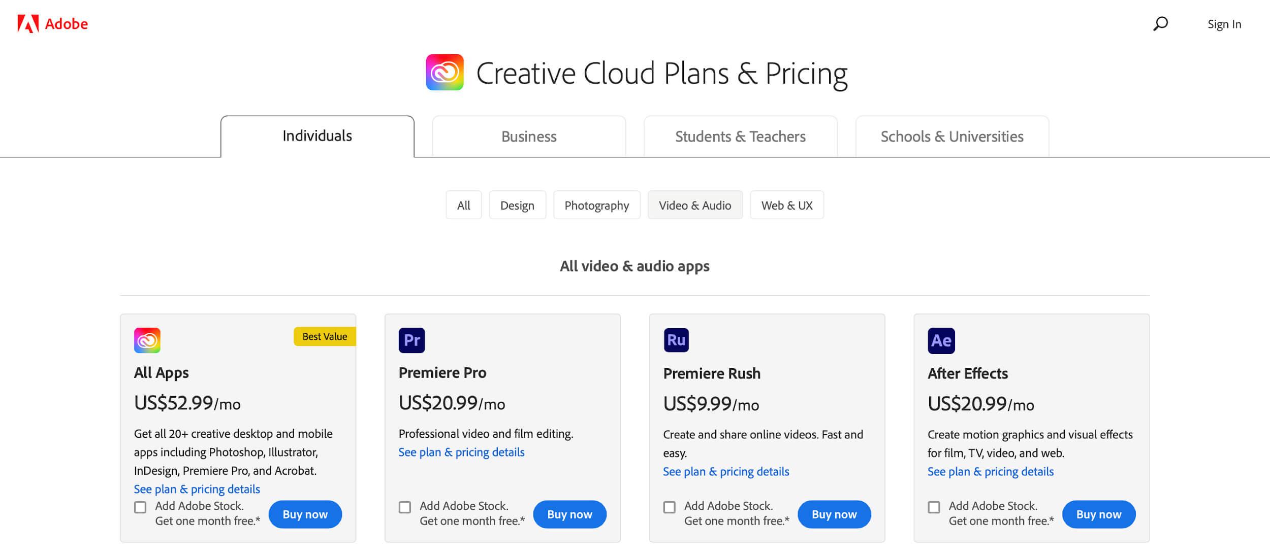 Adobe Premiere Pro vs Final Cut Pro X - Creative Cloud Pricing