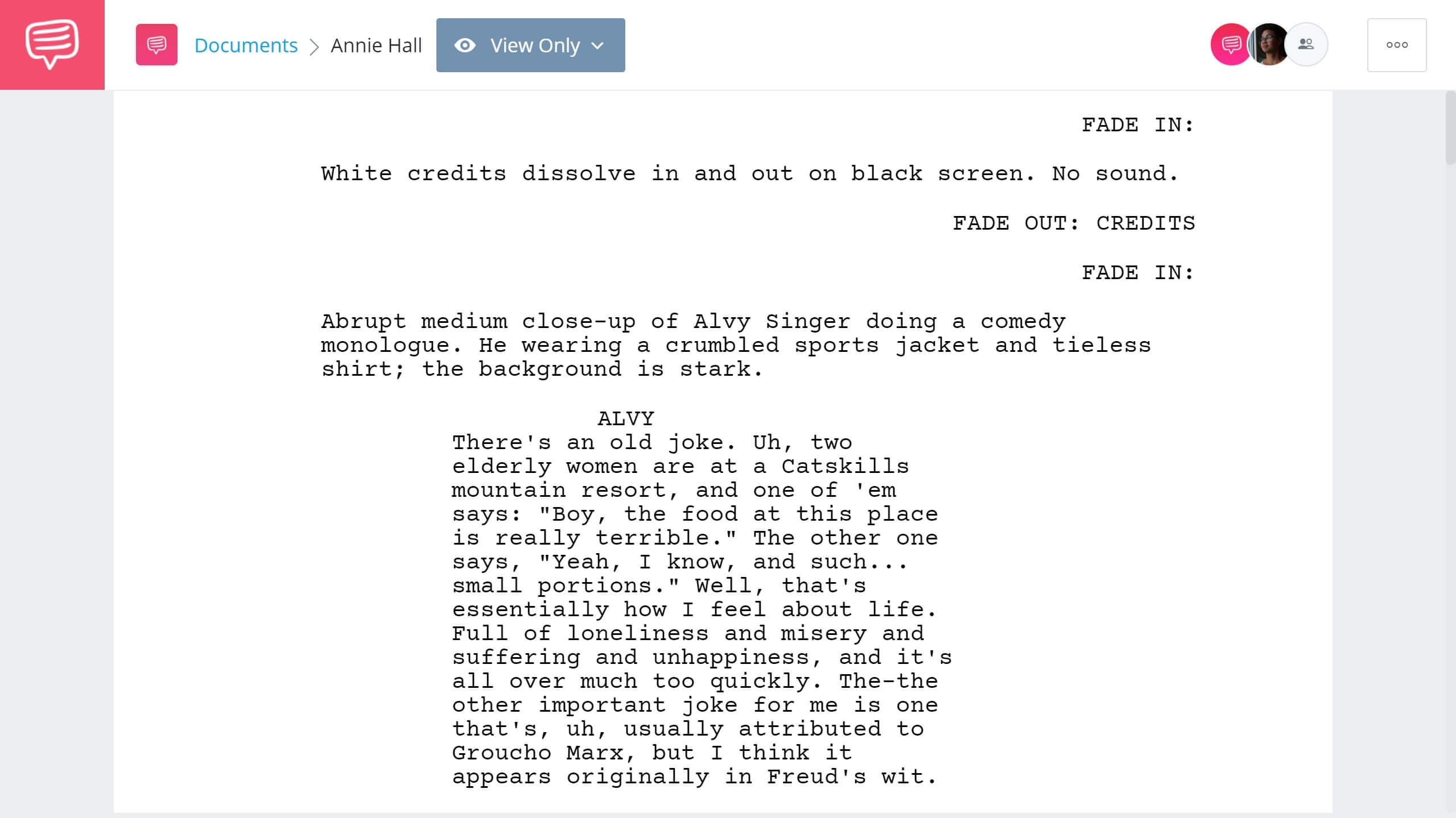 Best Original Screenplay Academy Award - Annie Hall Full Script PDF Download - StudioBinder Screenwriting Software