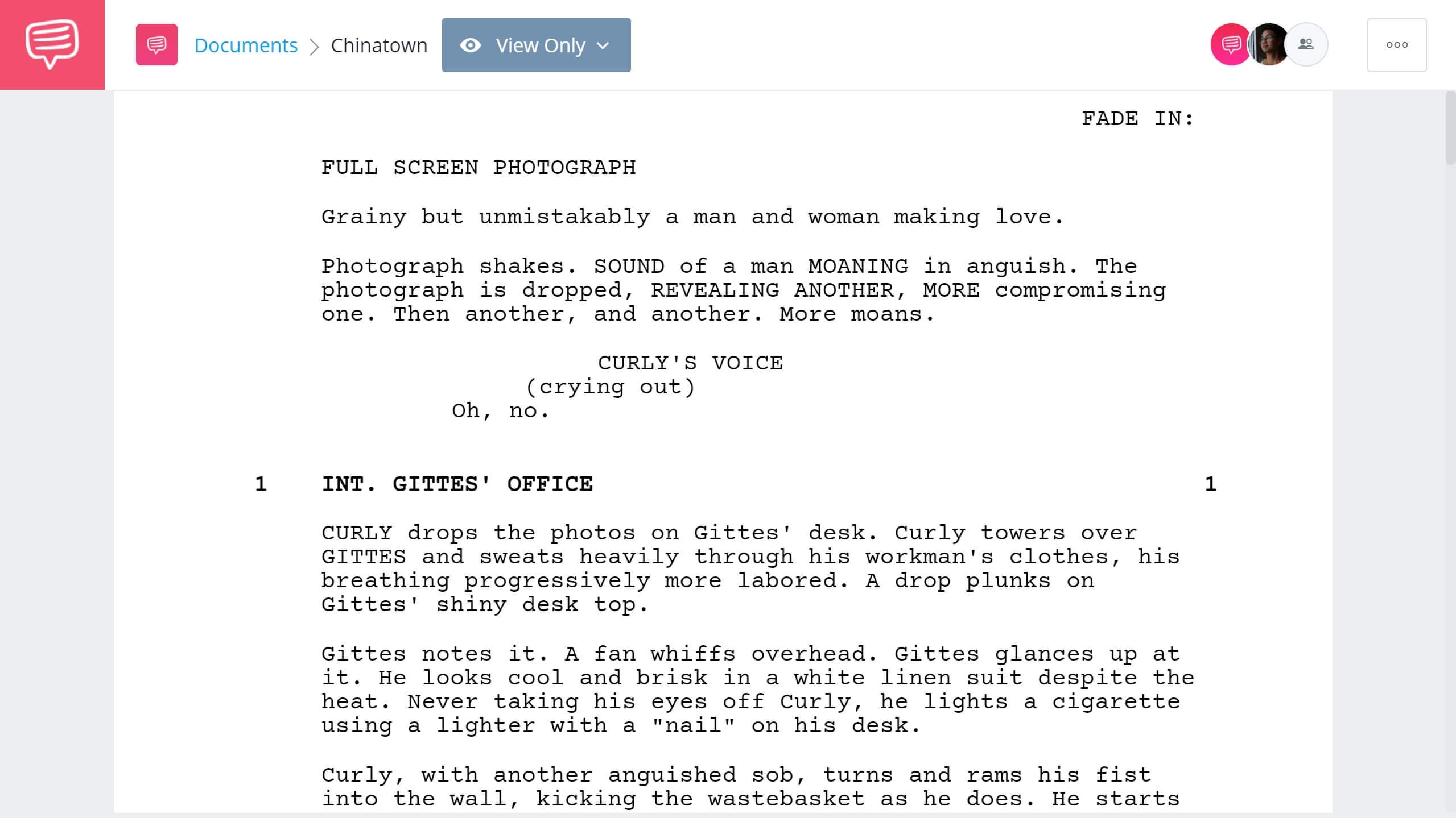 Best Original Screenplay Academy Award - Chinatown Full Script PDF Download - StudioBinder Screenwriting Software