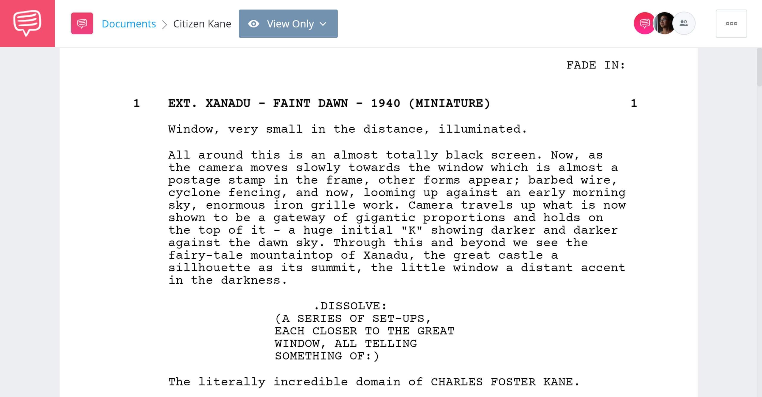 Best Original Screenplay Academy Award - Citizen Kane Full Script PDF Download - StudioBinder Screenwriting Software