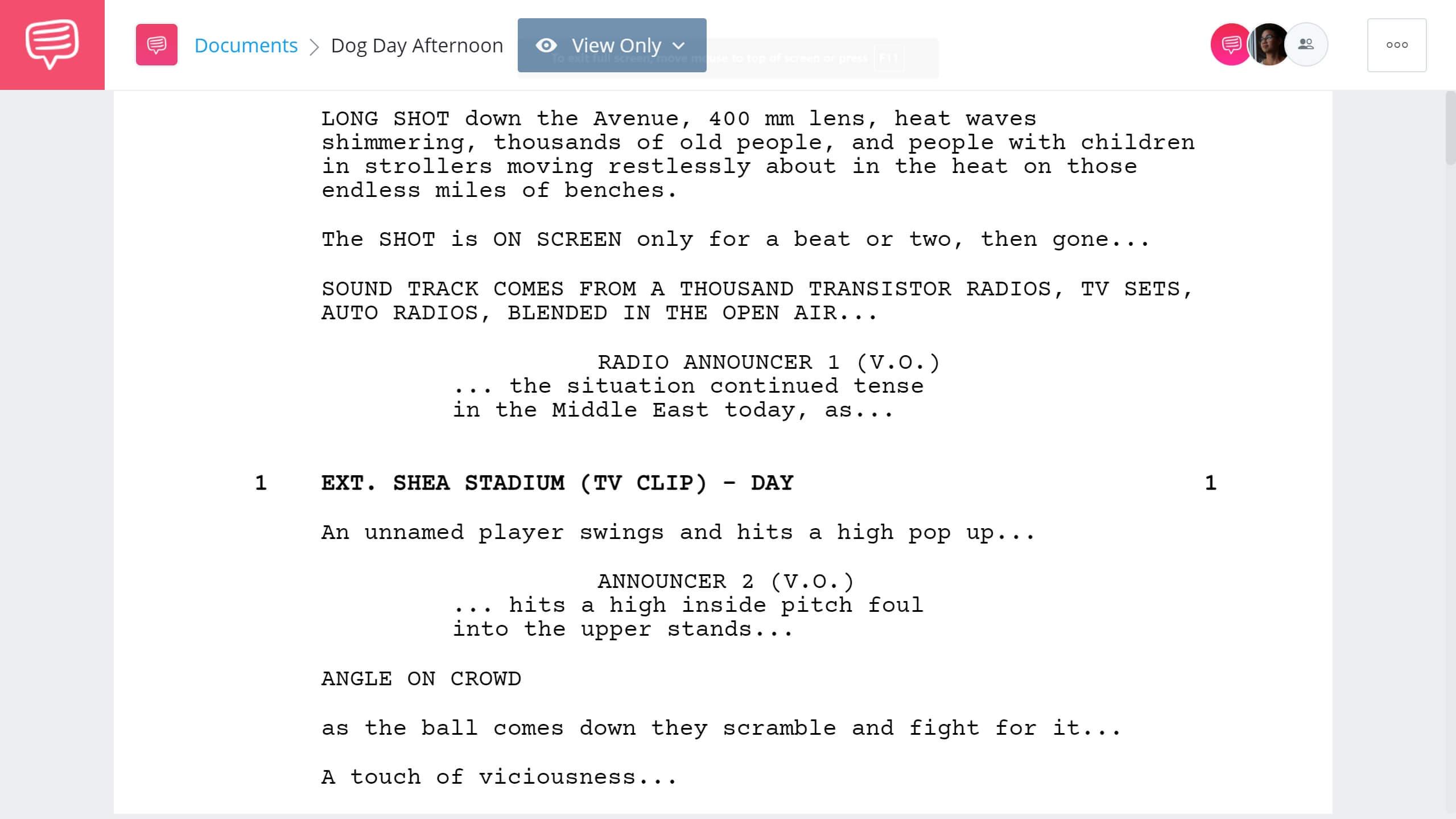 Best Original Screenplay Academy Award - Dog Day Afternoon Full Script PDF Download - StudioBinder Screenwriting Software