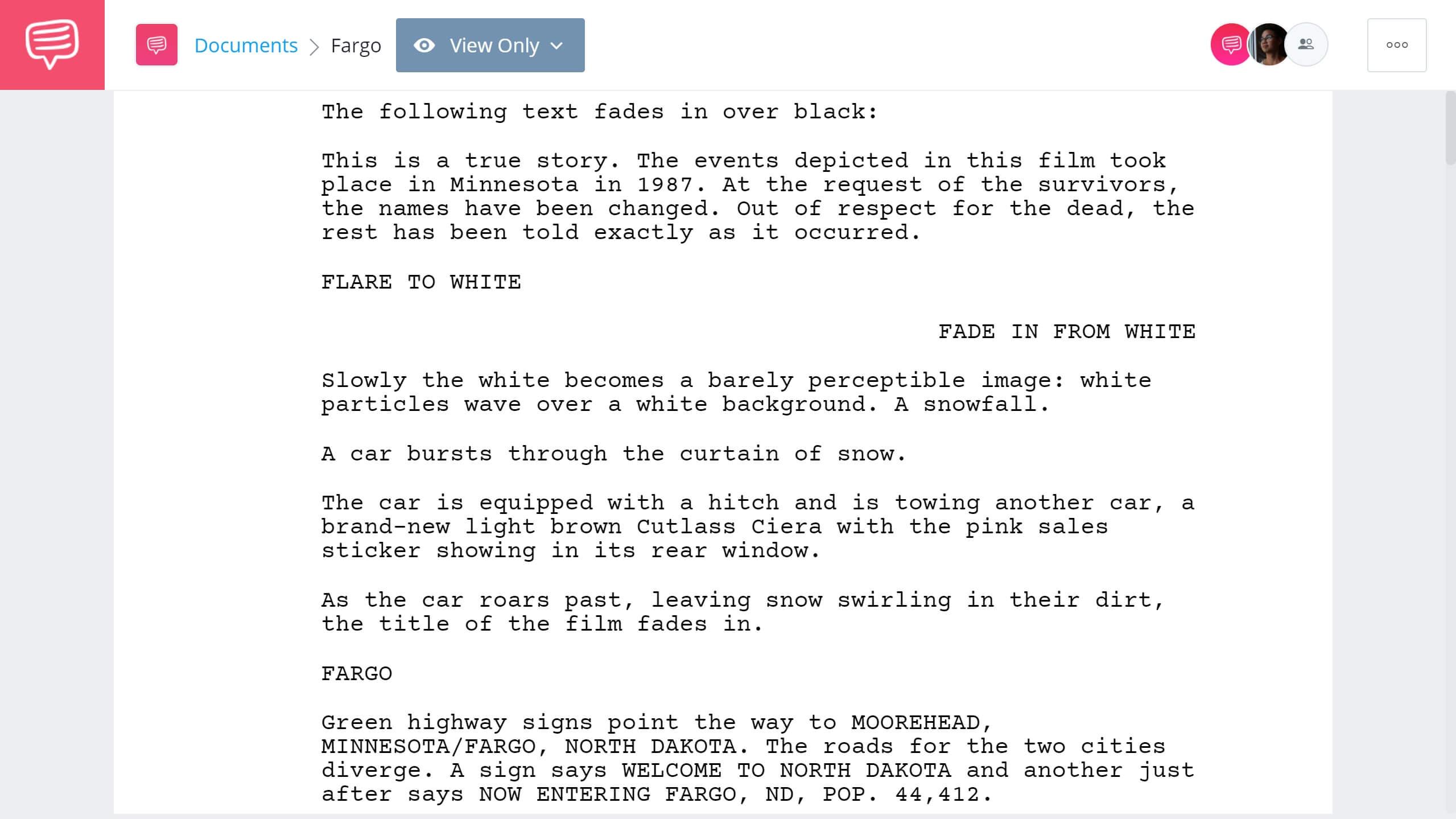 Best Original Screenplay Academy Award - Fargo Full Script PDF Download - StudioBinder Screenwriting Software