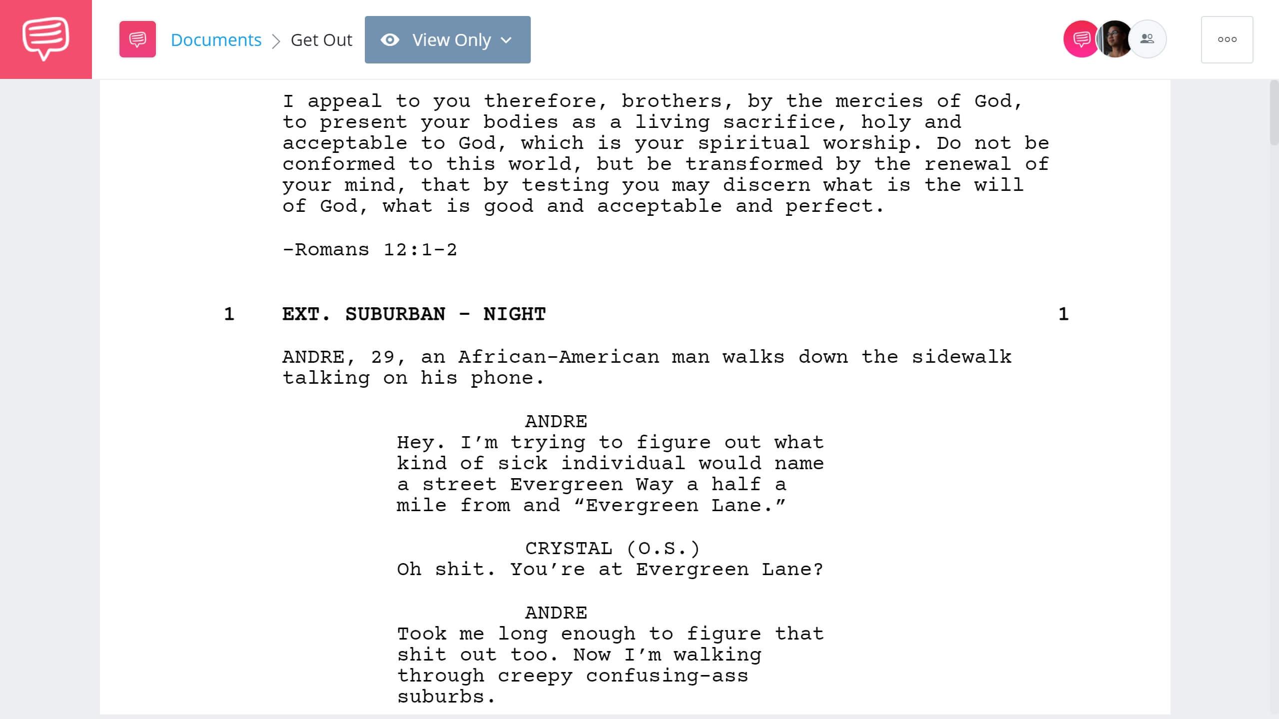 Best Original Screenplay Academy Award - Get Out Full Script PDF Download - StudioBinder Screenwriting Software