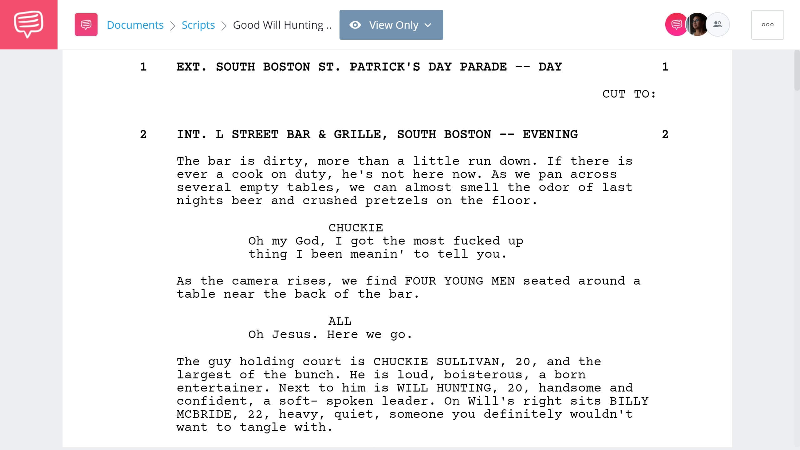 Best Original Screenplay Academy Award - Good Will Hunting Full Script PDF Download - StudioBinder Screenwriting Software