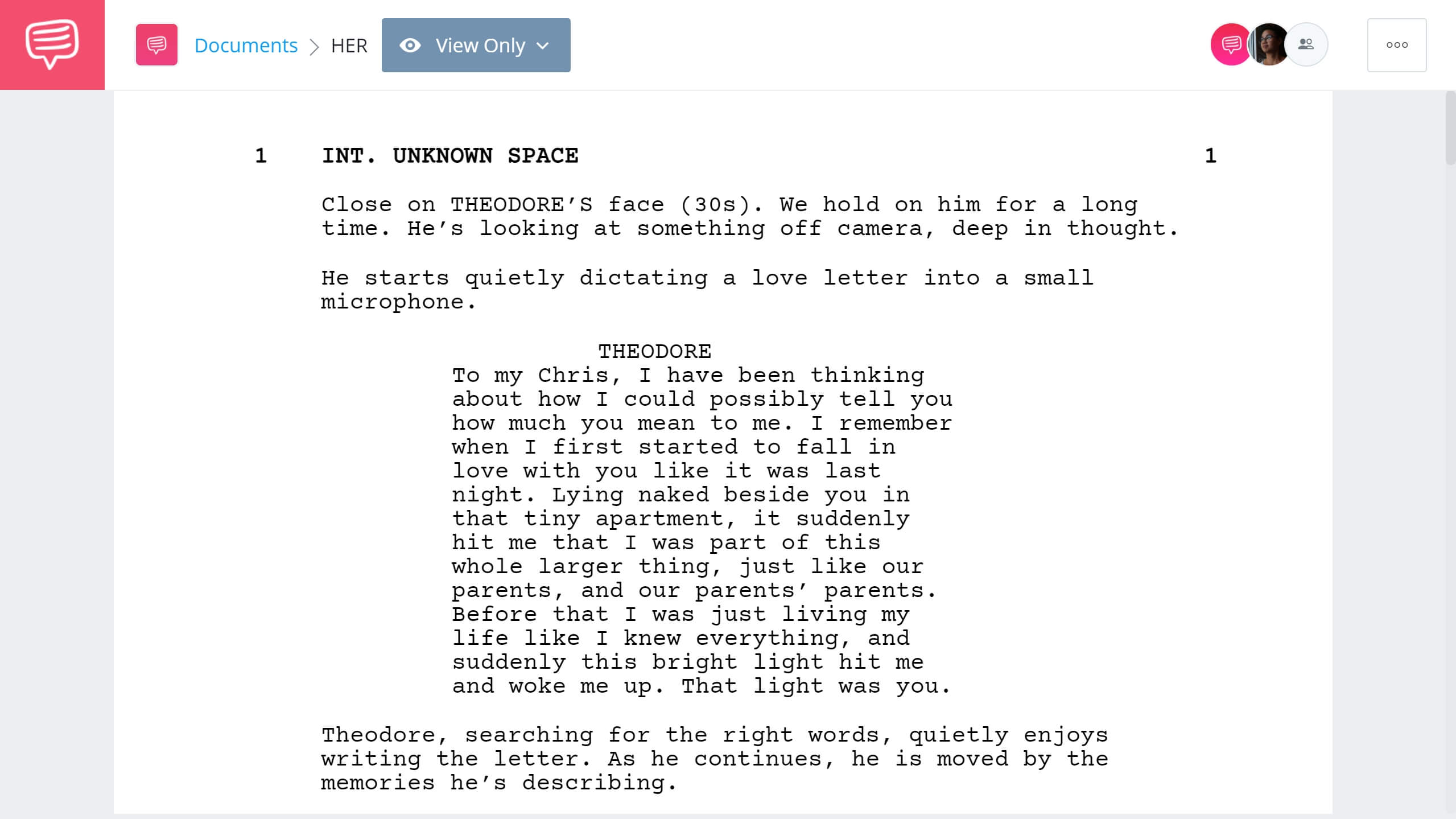 Best Original Screenplay Academy Award - Her Full Script PDF Download - StudioBinder Screenwriting Software