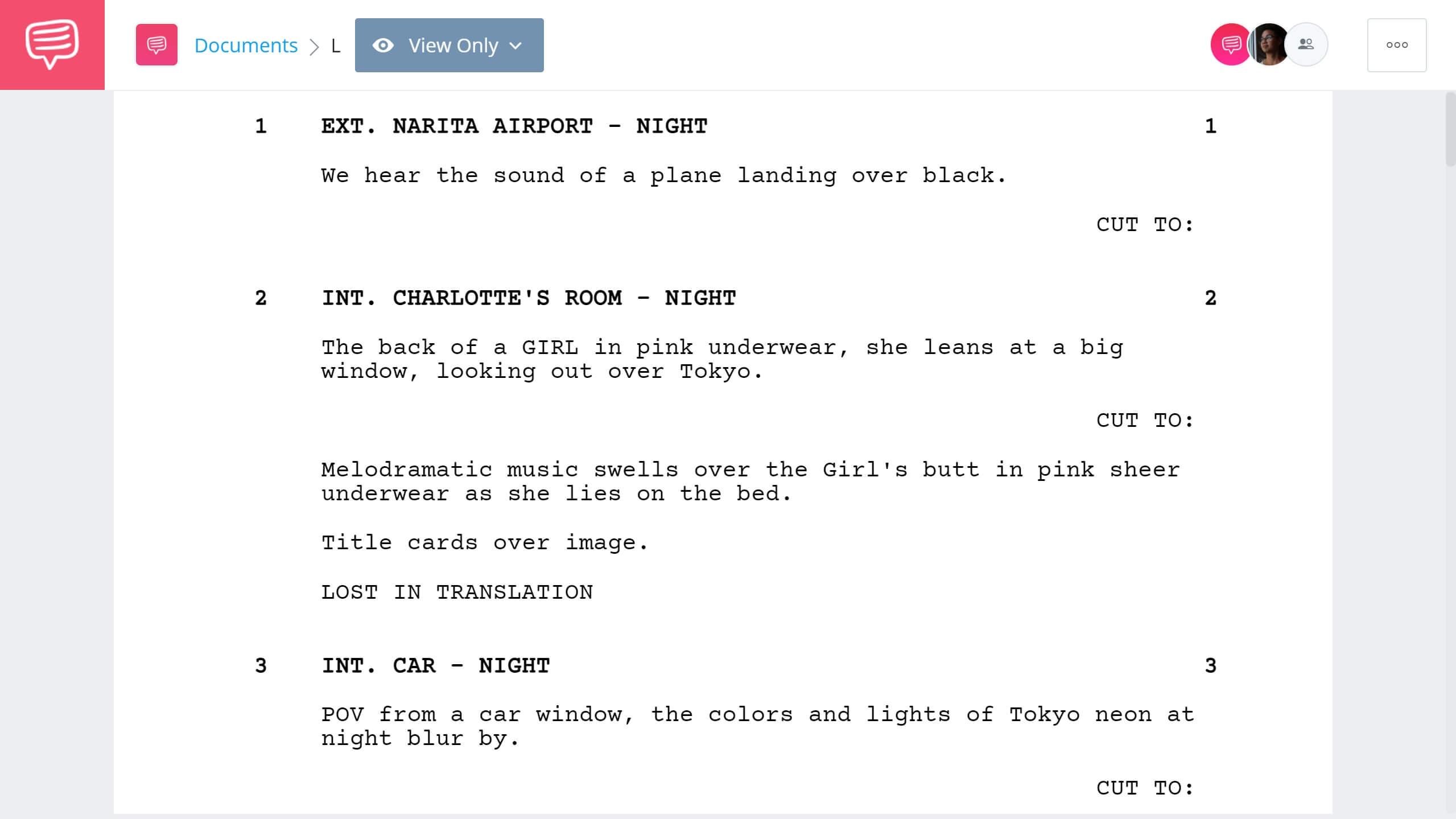 Best Original Screenplay Academy Award - Lost in Translation Full Script PDF Download - StudioBinder Screenwriting Software