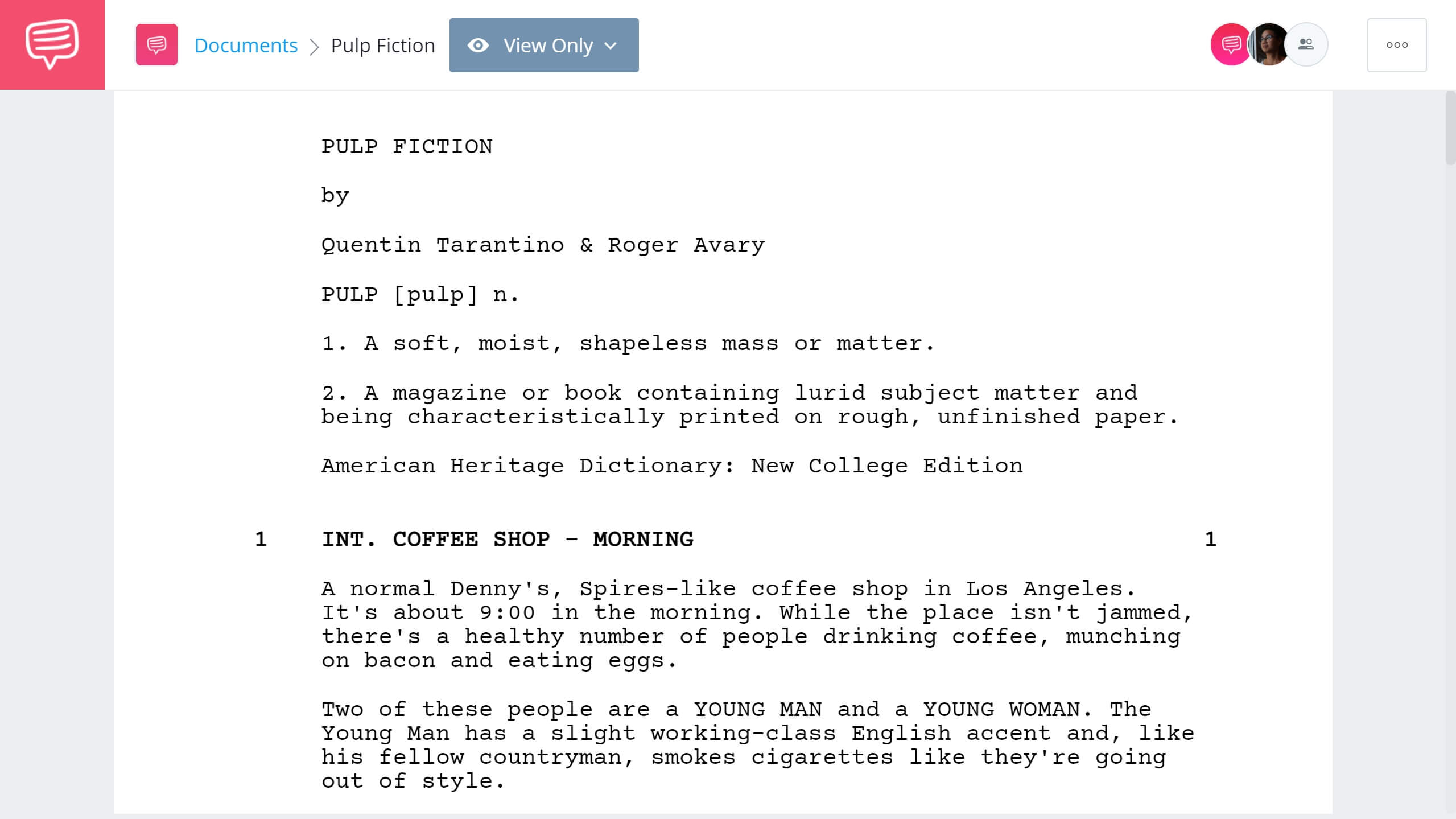 Best Original Screenplay Academy Award - Pulp Fiction Full Script PDF Download - StudioBinder Screenwriting Software