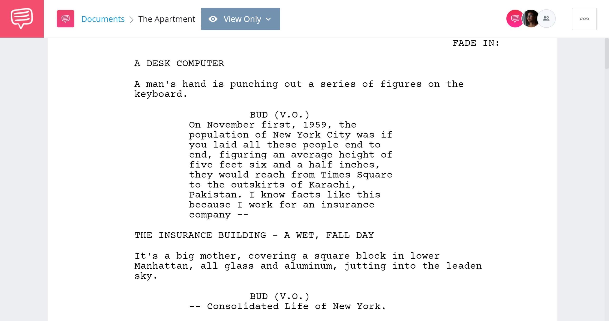 Best Original Screenplay Academy Award - The Apartment Full Script PDF Download - StudioBinder Screenwriting Software