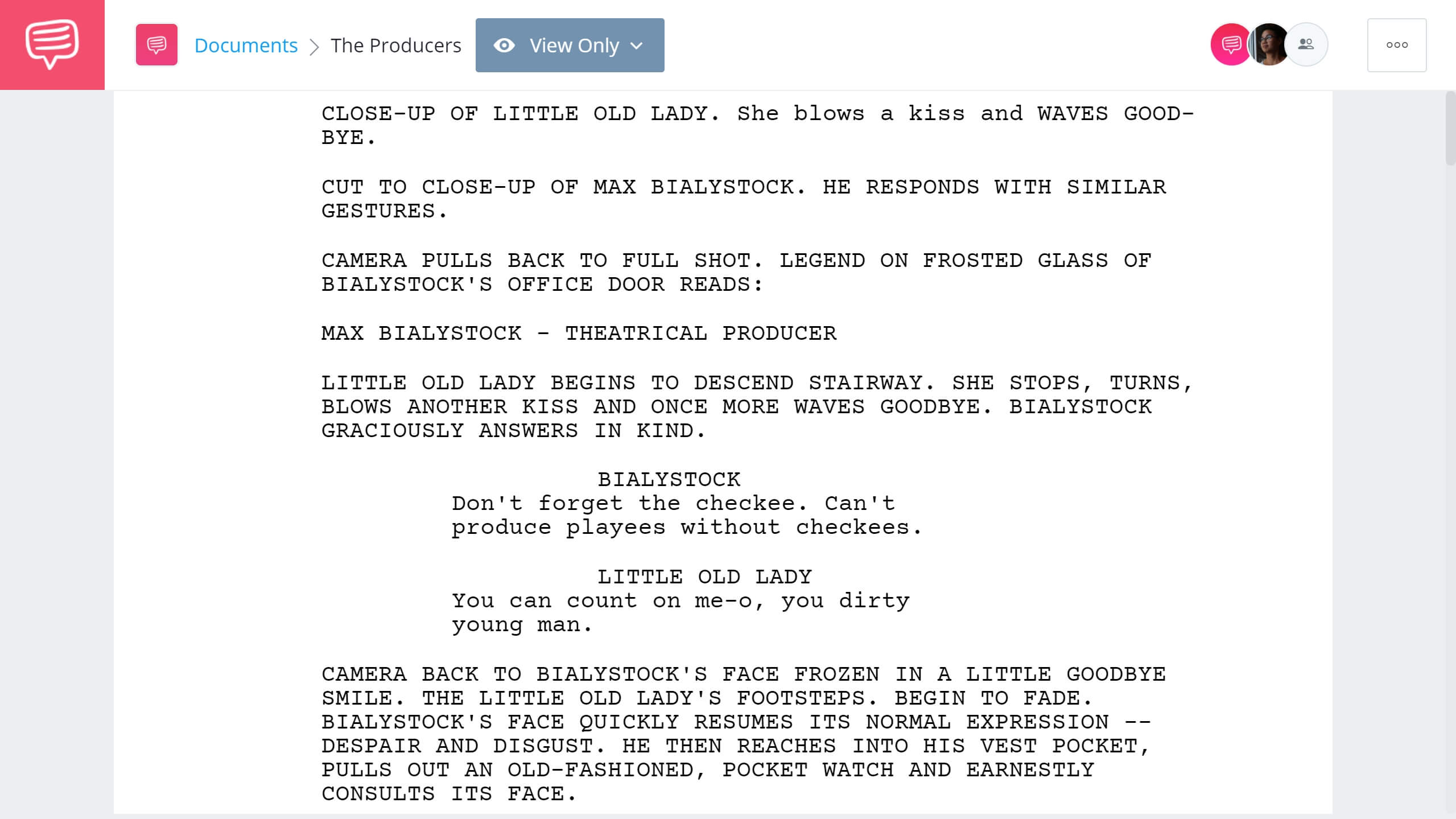 Best Original Screenplay Academy Award - The Producers Full Script PDF Download - StudioBinder Screenwriting Software