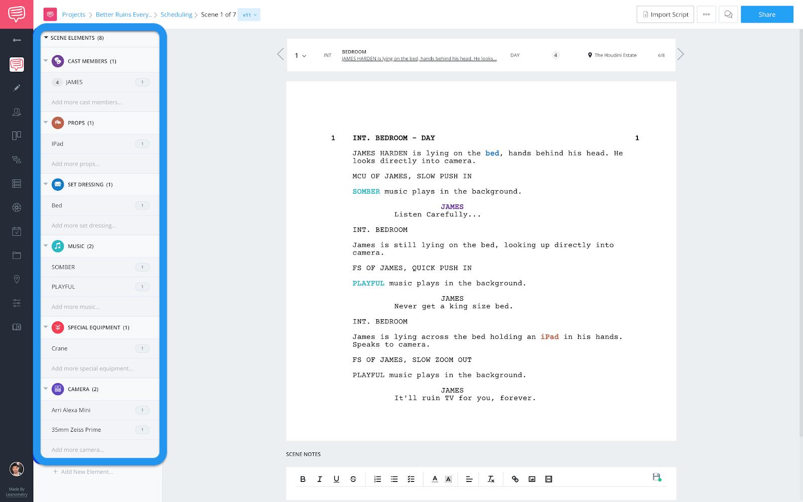 Breakdowns page - Scene elements