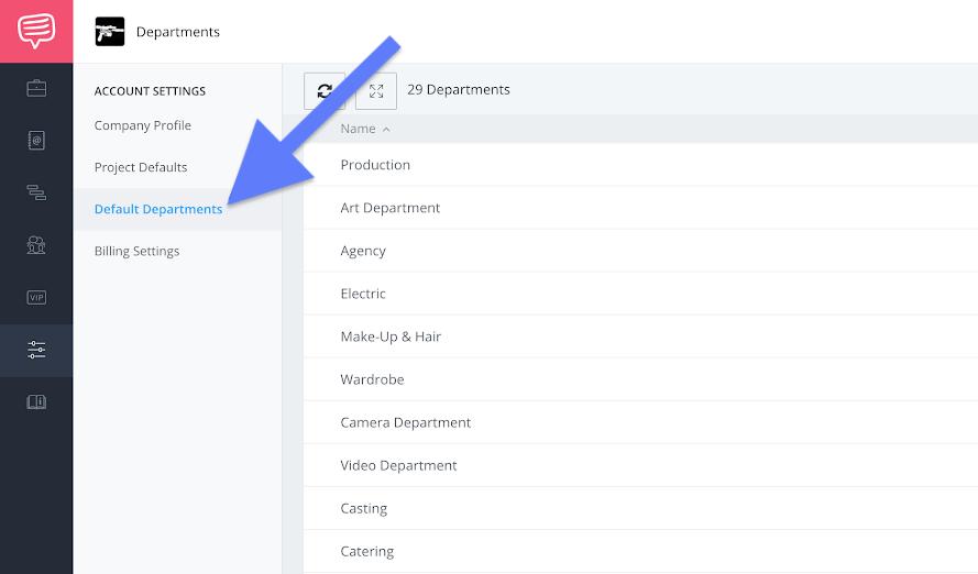 Company settings sidebar - Default departments