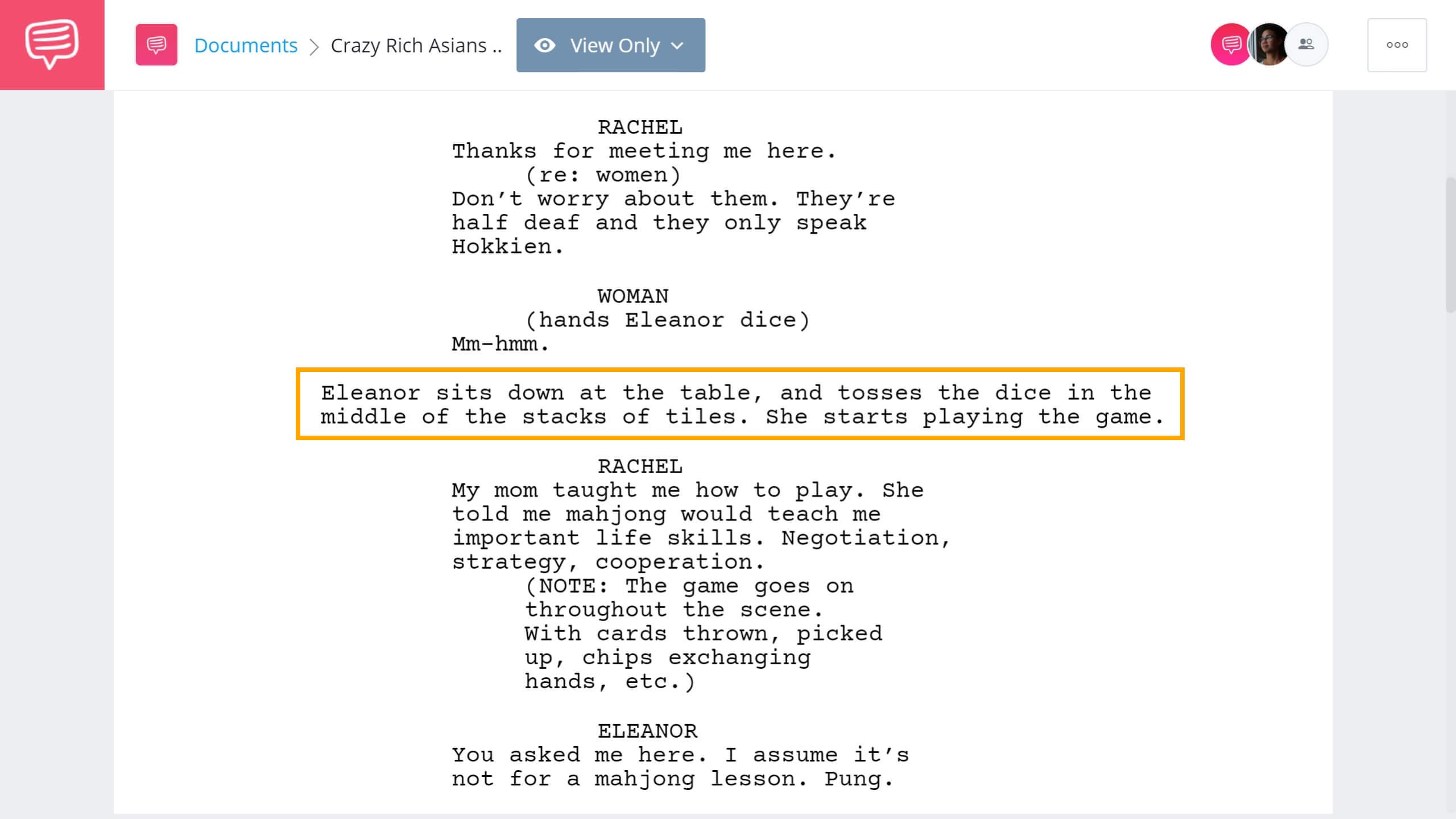 Crazy Rich Asians Script Teardown - Majong Scene - StudioBinder Screenwriting Software