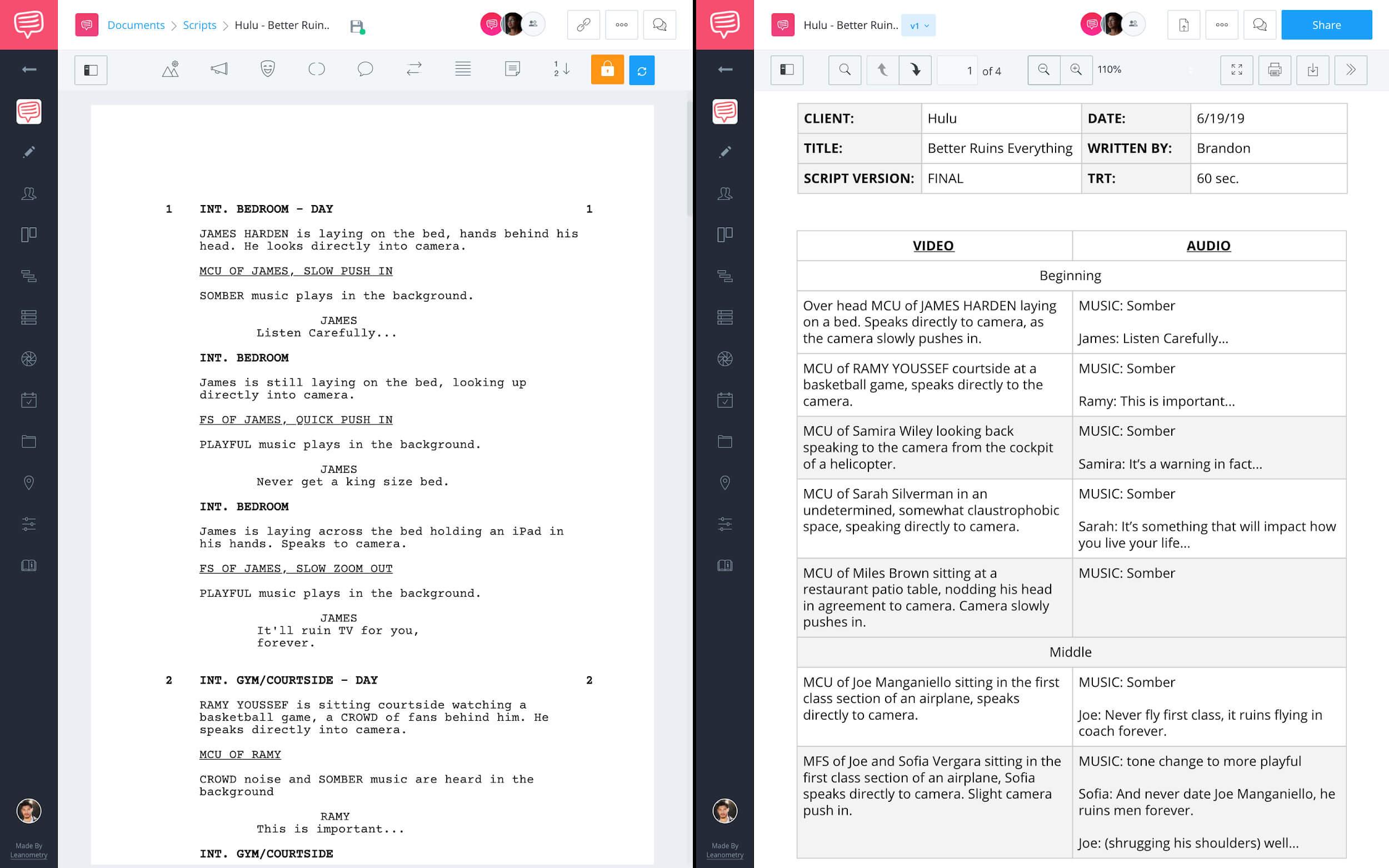Documents page screenplay - Media library av script
