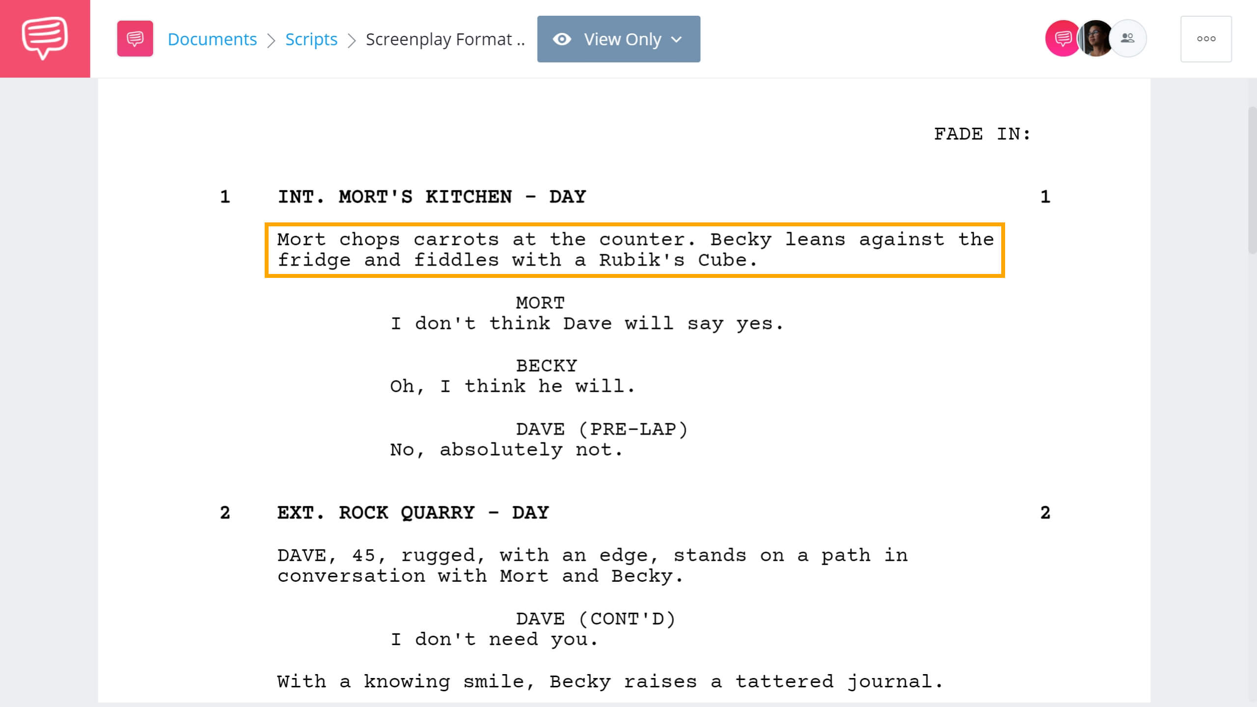 Formatting a Screenplay - Screenplay Format - Action Lines - StudioBinder Screenwriting Software