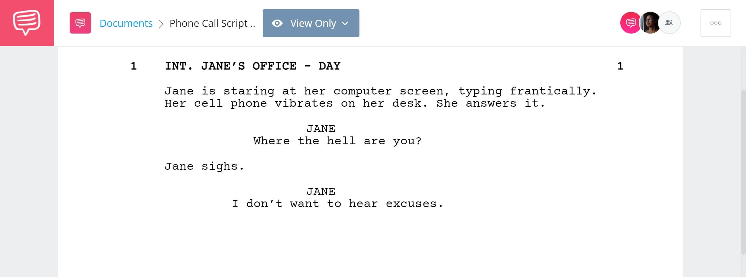 How to Write Telephone Conversation in Screenplay - One Person Example - StudioBinder Screenwriting Software