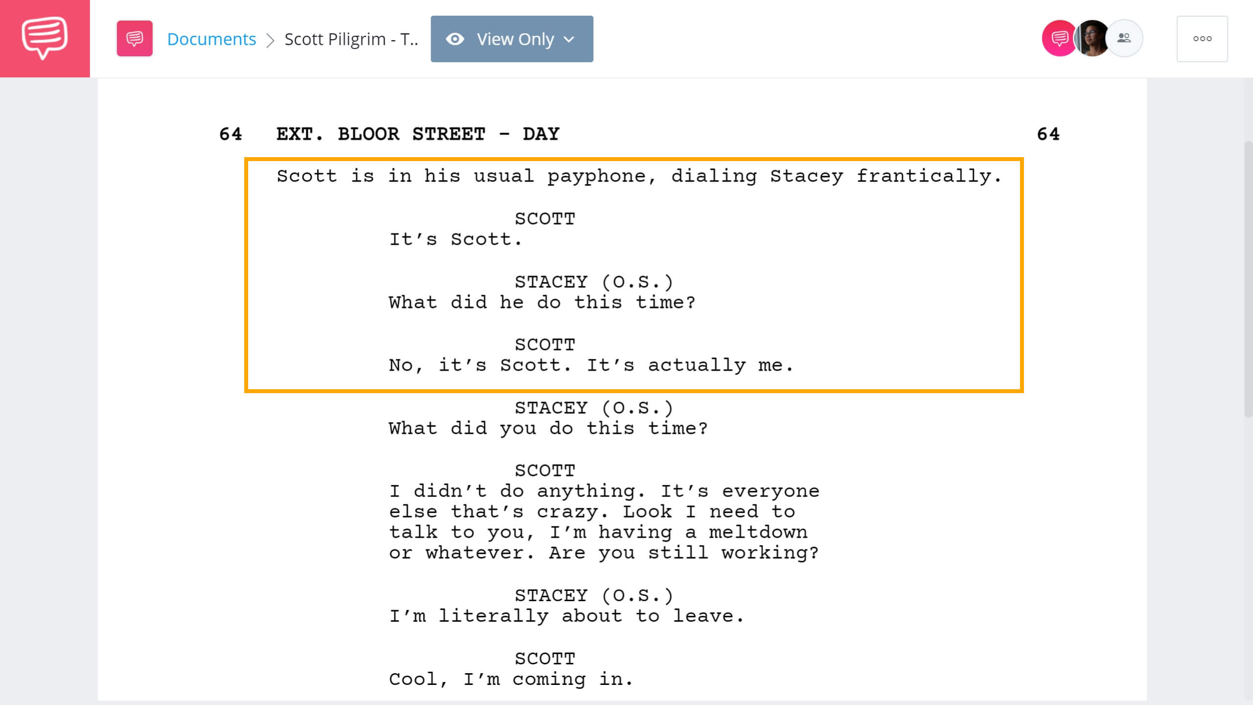 How to Write Telephone Conversation in Screenplay - Scott Piligrim Example - StudioBinder Screenwriting Software