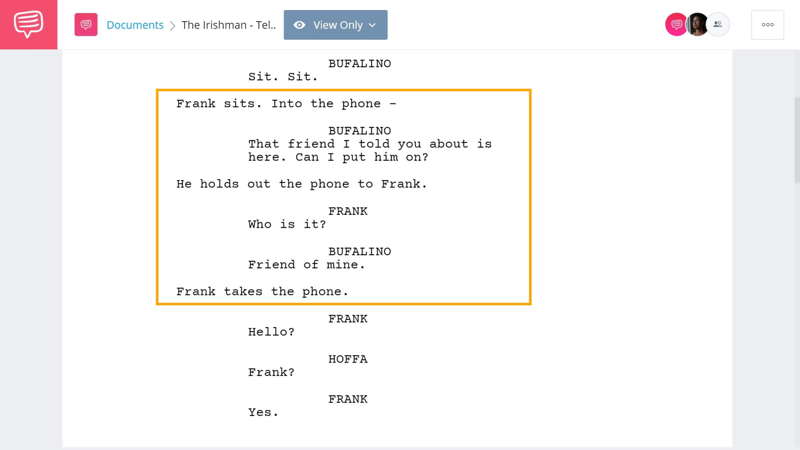 How to Write Telephone Conversation in Screenplay - The Irishman Example - StudioBinder Screenwriting Software