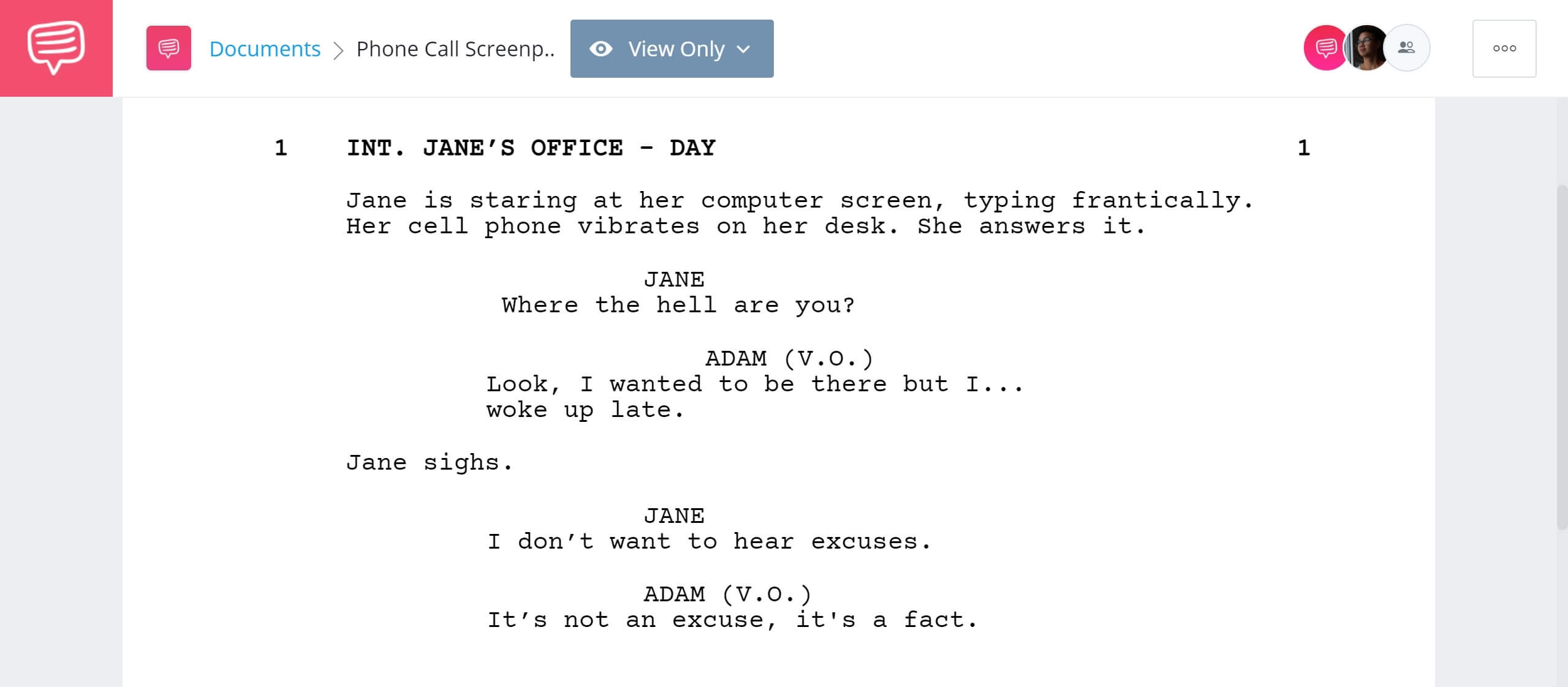 How to Write Telephone Conversation in Screenplay - Voiceover Example - StudioBinder Screenwriting Software
