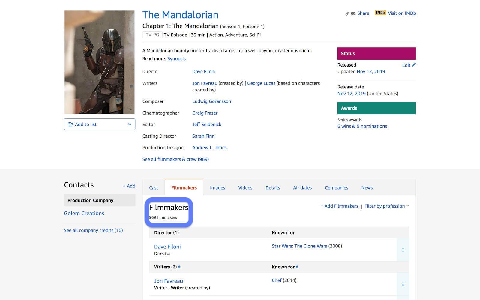 IMDb pro - The Mandalorian crew list