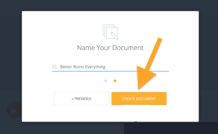 Name your document - Click create document