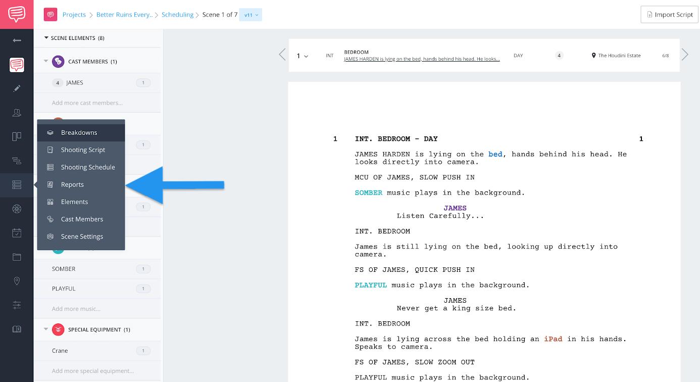 Navigation sidebar - Click reports
