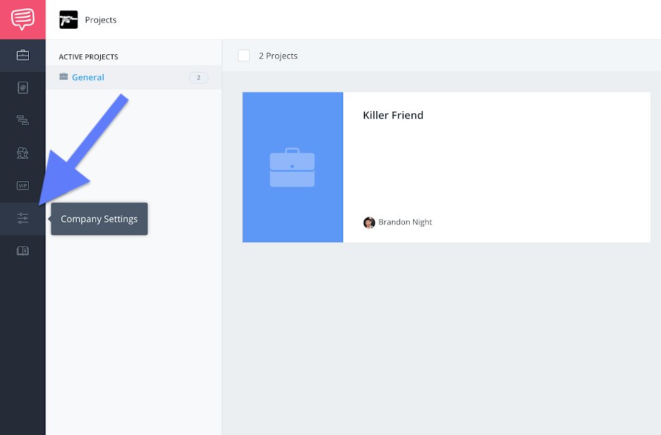 Navigation sidebar - Company settings button