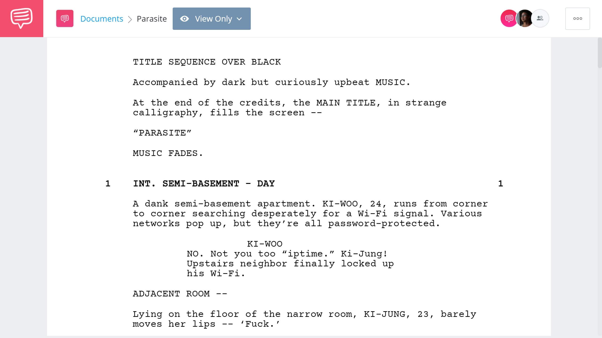 Parasite Script Breakdown - Full PDF Script Download - StudioBinder Screenwriting Software