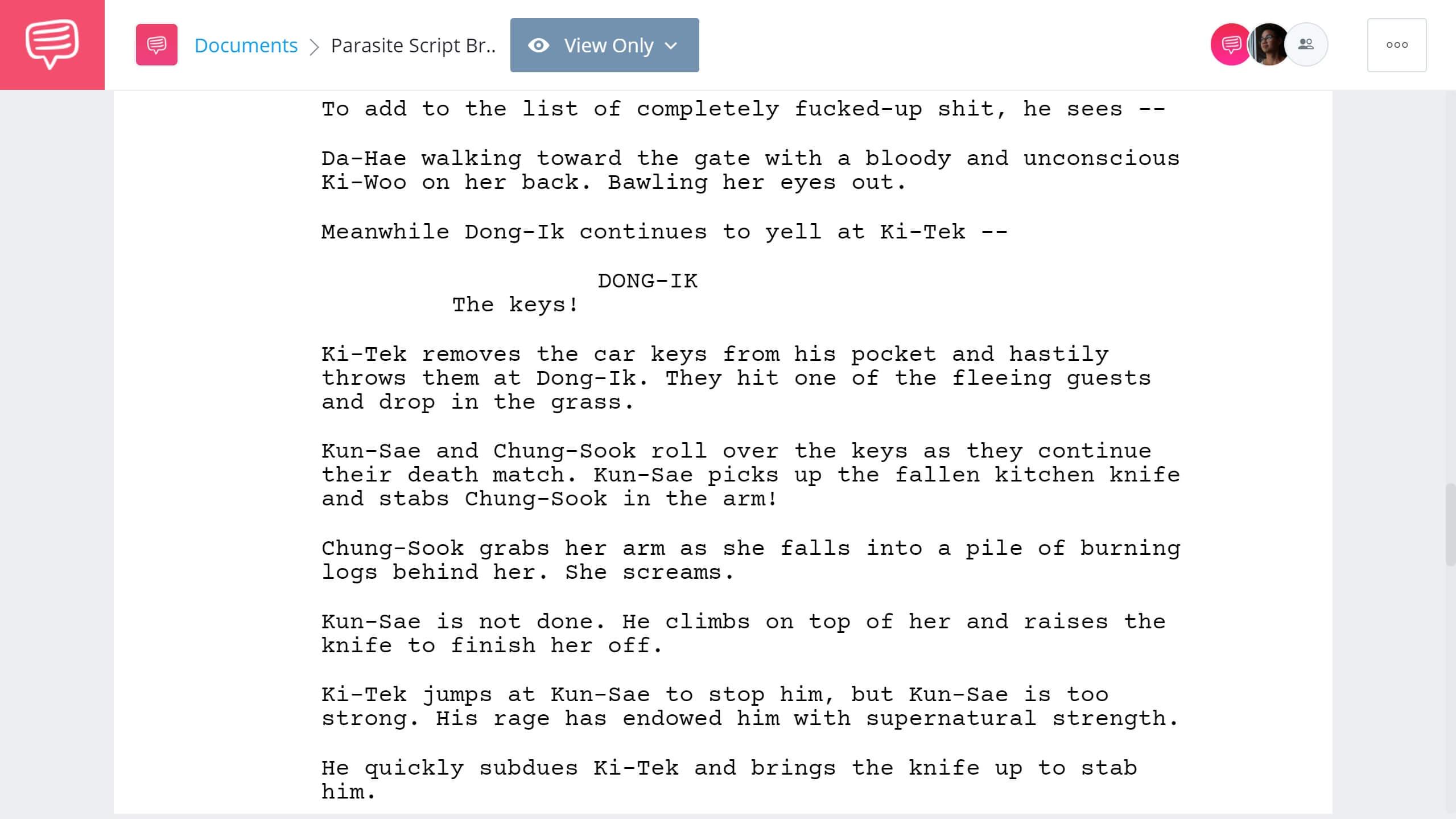 Parasite Script Breakdown - Parasite Characters - StudioBinder Screenwriting Software
