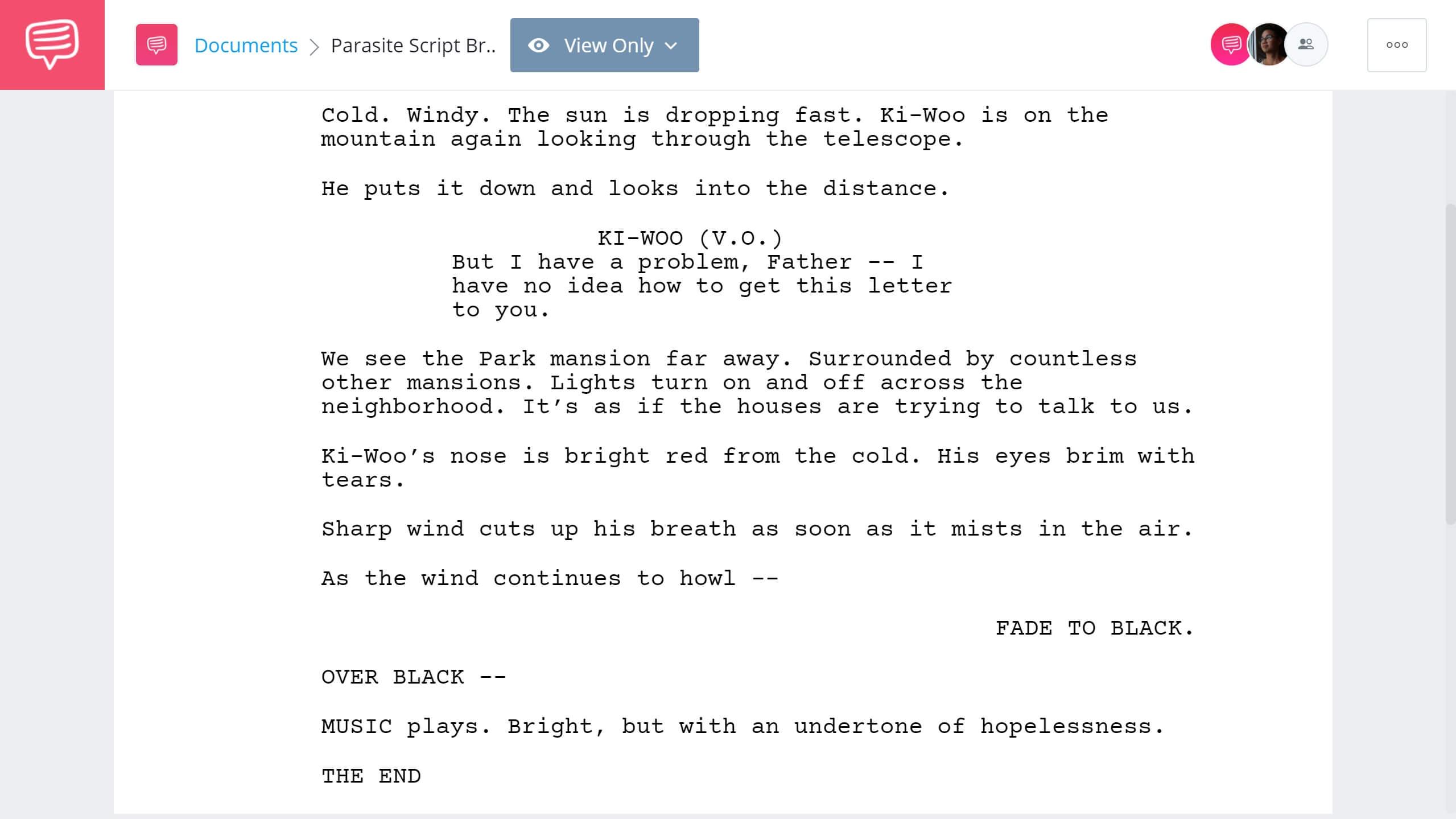 Parasite Script Breakdown - Parasite Ending - StudioBinder Screenwriting Software