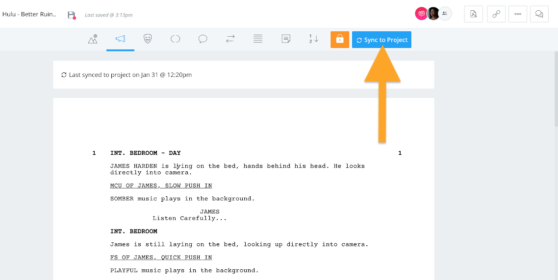 Screenplay document - Sync to project button