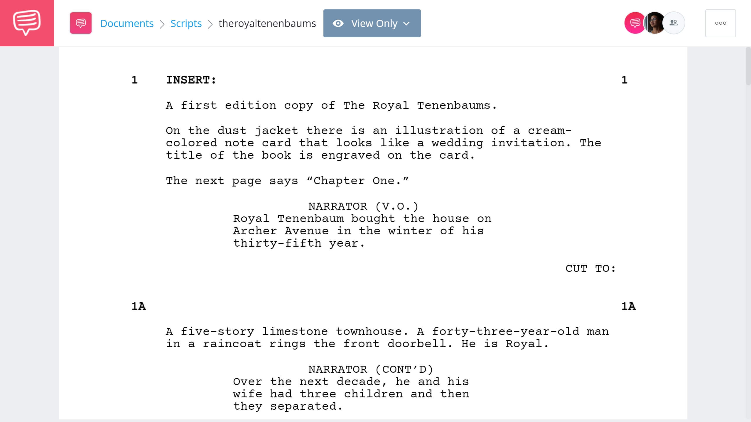 The Royal Tenenbaums Script - StudioBinder Screenwriting Software