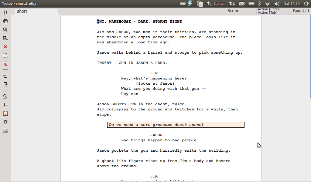 Trelby screenwriting