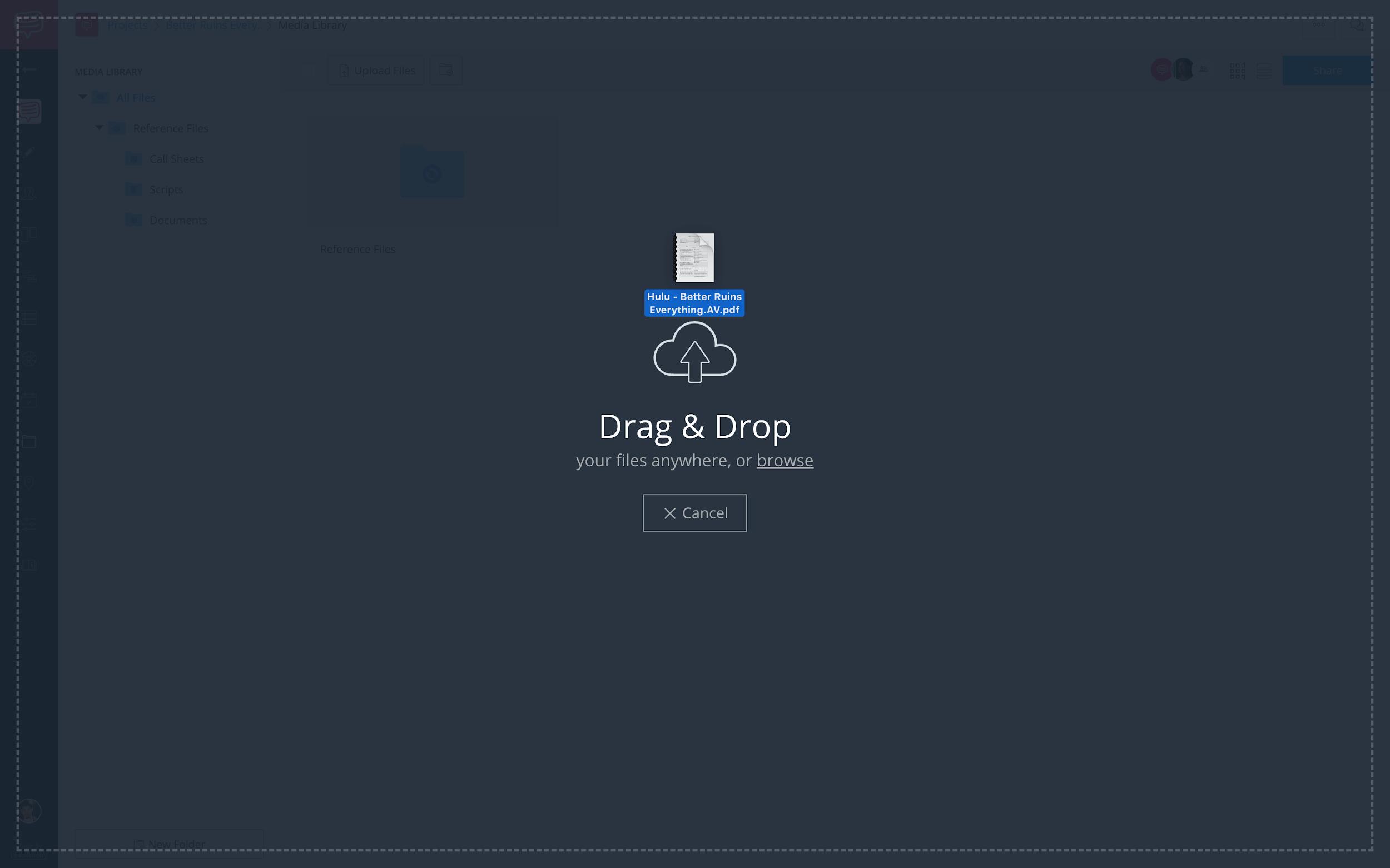 Upload files pop-up - Drag and drop file