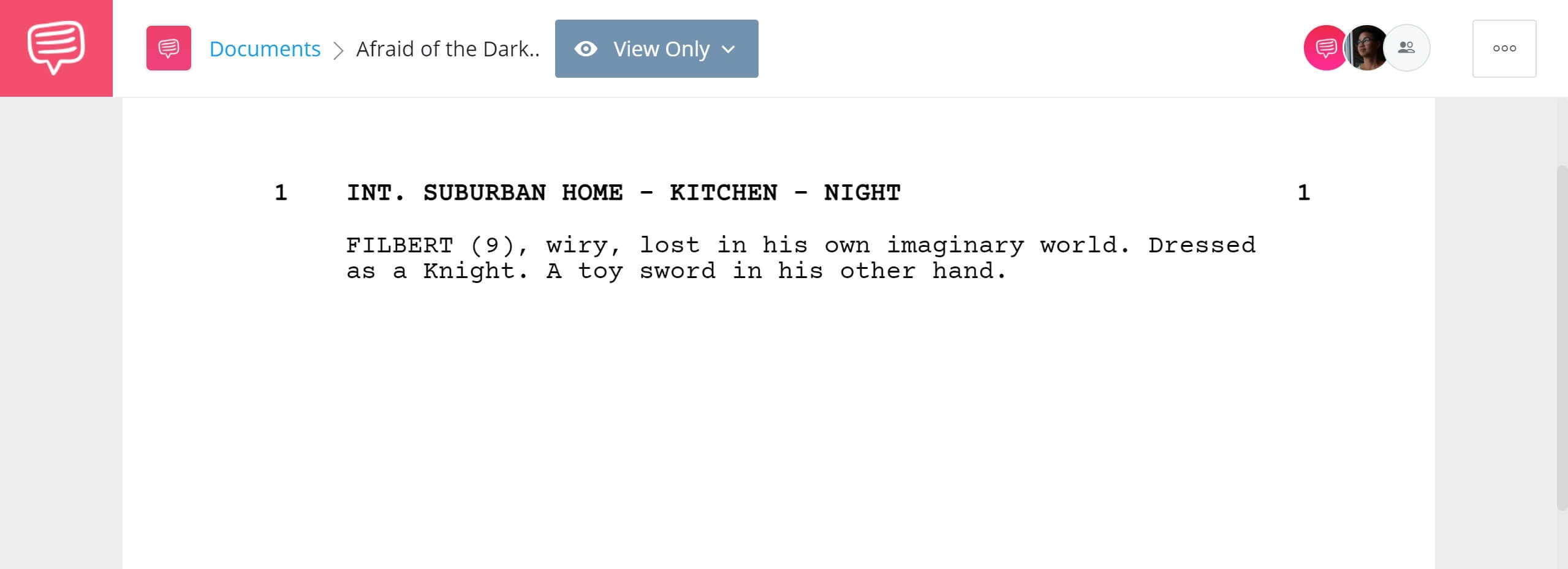 how to write a movie script - afraid of the dark - studiobinder screenwriting feature - character intro - double hyphen scene heading (1)