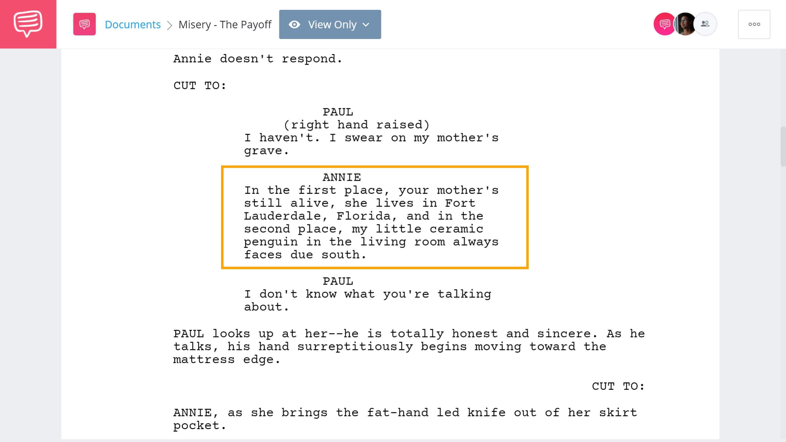 Chekhov's Gun - Misery The Payoff - StudioBinder Screenwriting Software