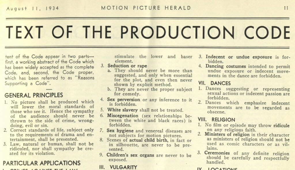 Hays Code 1934