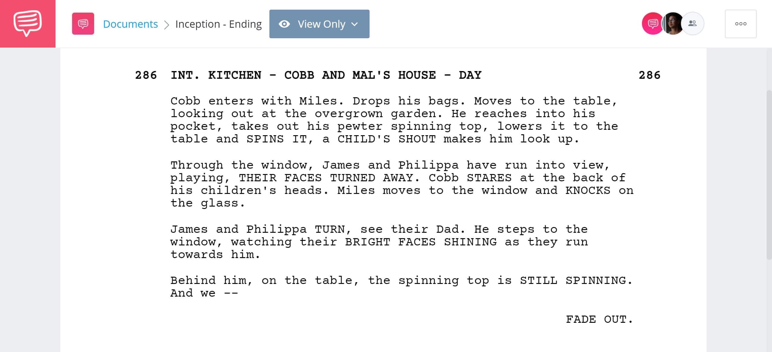 Inception Script Teardown - Confusing Ending - StudioBinder Screenwriting Software