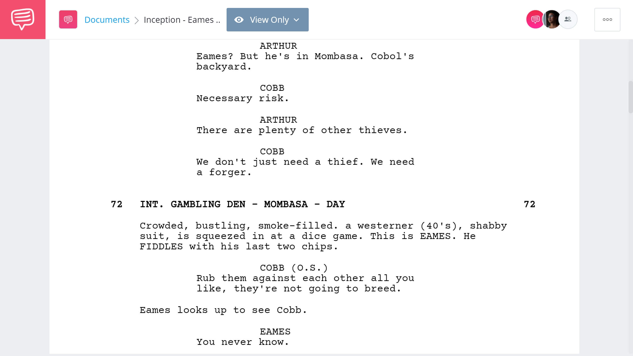Inception Script Teardown - Eames Introduction - StudioBinder Screenwriting Software