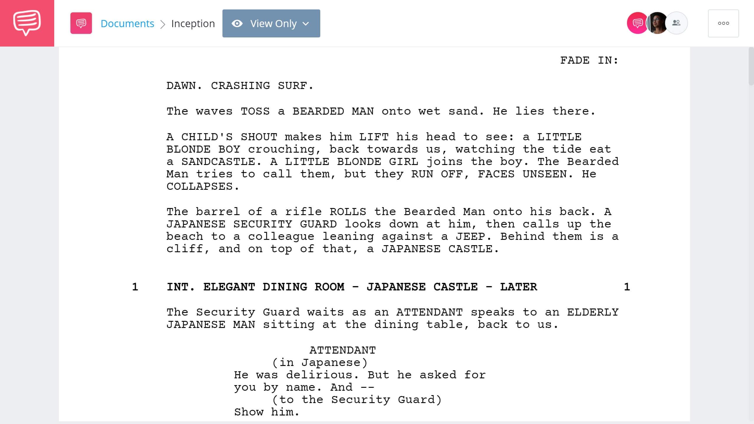 Inception Script Teardown - Full Script PDF Download - StudioBinder Screenwriting Software