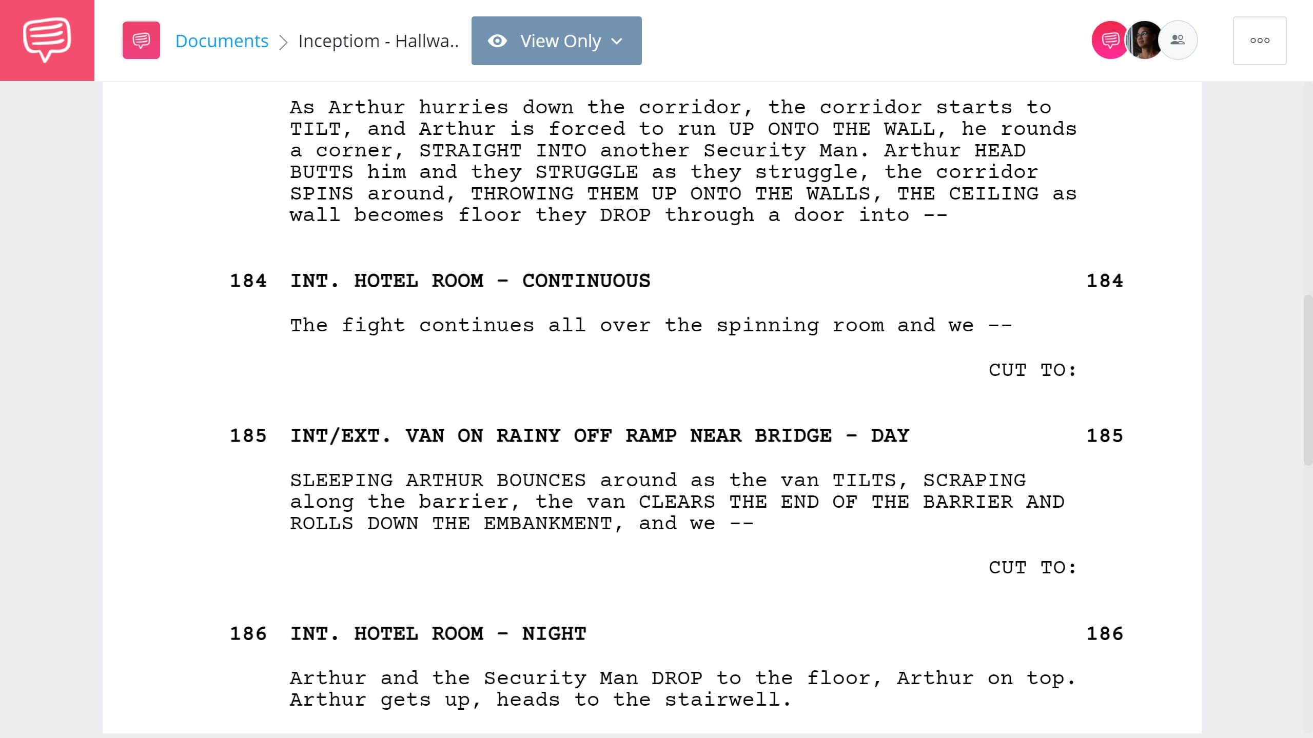 Inception Script Teardown - Hotel Room Scene - StudioBinder Screenwriting Software